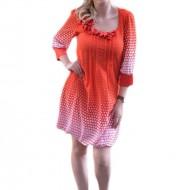 Rochie eleganta cu design de buline pe fond rosu, masuri mici