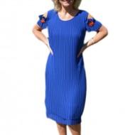 Rochie eleganta cu pliuri verticale si flori brodate, albastra