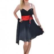 Rochie eleganta ,de culoare negra, cu banda in talie