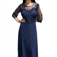Rochie eleganta din voal combinat cu dantela eleganta, bleumarin inchis