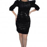 Rochie eleganta Liana cu paiete si maneci bufante,negru