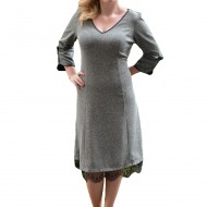 Rochie eleganta, nuanta de gri, fundite chic aplicate lateral