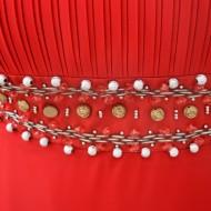 Rochie eleganta, rafinata, cu insertii de margele in talie, pe rosu