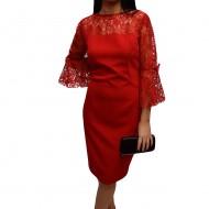 Rochie feminina cu insertii dantela eleganta, de culoare rosie