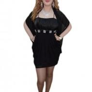 Rochie in nuanta de negru, decolteu clasic, strasuri chic