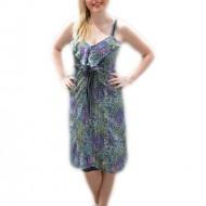 Rochie lejera de vara, voal fin cu design multicolor si volanase
