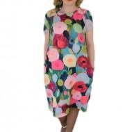 Rochie lejera, masura mare, design floral multicolor, nuante vii