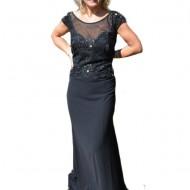 Rochie lunga de seara, culoare neagra, confectionata din voal