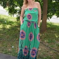 Rochie lunga de vara, culoare rosu-bleumarin