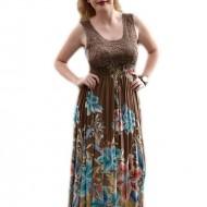 Rochie lunga de vara, maro, din bumbac de calitate superioara