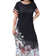 Rochie lunga de zi,Suze cu imprimeu cu flori,nuanta de negru