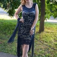 Rochie moderna cu trena, culoare bleumarin, din dantela fina