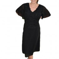 Rochie neagra de seara din voal cu insertii de dantela si margele