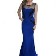 Rochie rafinata de gala, tip sirena, culoare albastra cu paiete negre