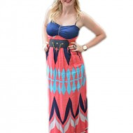 Rochie rafinata de tineret, model lung cu imprimeu multicolor