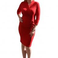 Rochie rafinata din material elastic, culoare rosie, cu volane