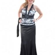 Rochie rafinata ,neagra ,cu corset alb infasurat in dantela neagra