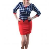 Rochie scurta cu aspect de costum, rosu-bleumarin cu carouri