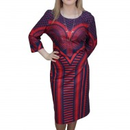 Rochie tinereasca, de culoare bleumarin-rosu, design chic