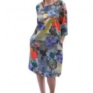 Rochie tinereasca de zi, masura mare, design de flori multicolore
