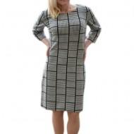 Rochie trendy de zi cu design de carouri rafinate, nuante negru-alb