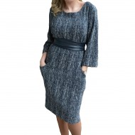 Rochie trendy masura mare, bleumarin-alb, cu maneca trei-sferturi
