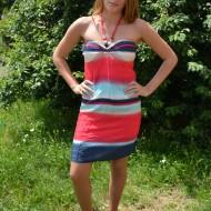 Rochie usoara, comoda de zi, design de dungi multicolore