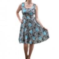 Rochie vaporoasa, cu imprimeu de flori albastre pe fond gri
