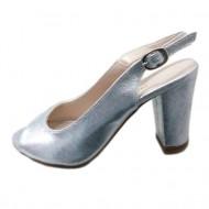 Sanda argintie cu toc inalt, gros, si varf rotunjit, model elegant