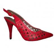 Sanda tip pantof decupat in spate si varf ascutit, nuanta rosie