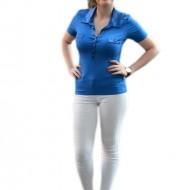 Tricou trendy de un albastru regal, guler si design de buzunare