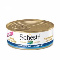 Hrana umeda pentru caini Schesir Junior cu ton si aloe 150 g