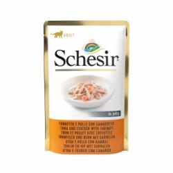 Hrana umeda pentru pisici Schesir cu ton pui si creveti 80 g