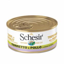 Hrana umeda pentru pisici Schesir in Supa Ton si Pui 70gr