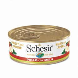 Hrana umeda pentru caini Schesir adult cu pui si mere 150 g
