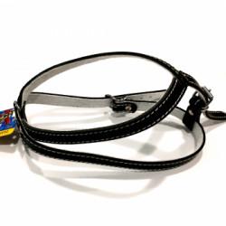 Ham reglabil din piele pentru caini Enjoy Nr.2 Negru 420/530-590/16mm