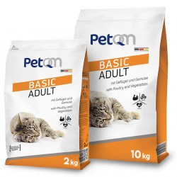 Hrana uscata pentru pisici PetQM Basic Adult: cu carne de pasare si legume 10 kg