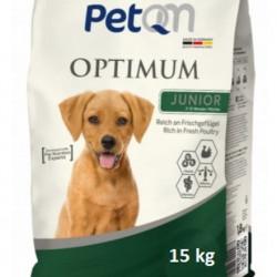 Hrana uscata pentru caini PetQM Optimum Junior, carne proaspata de pasare, 15 kg