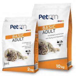 Hrana uscata pentru pisici PetQM Basic Adult: cu carne de pasare si legume 2 kg