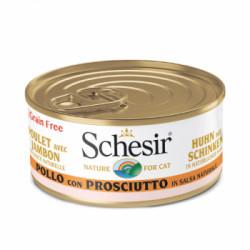 Hrana umeda pentru pisici Schesir cu pui si sunca in suc propriu 70 g