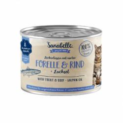 Hrana umeda Sanabelle cu Pastrav si Vita 195 gr