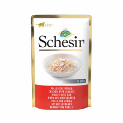 Hrana umeda pentru pisici Schesir cu pui si biban 85 g