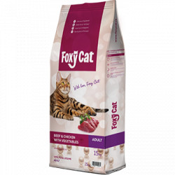 Hrana uscata pentru pisici Foxy Cat cu vita pui si legume 15 kg