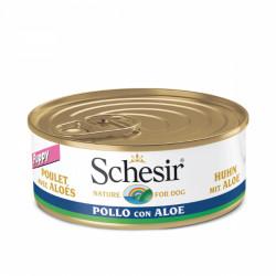 Hrana umeda pentru caini Schesir Junior cu pui si aloe 150 g