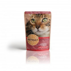 Hrana umeda pentru pisici Petkult cu vita 100 g