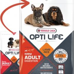 Hrana uscata pentru caini alergici Opti Life Adult Digestion Mini, cu miel, fara gluten