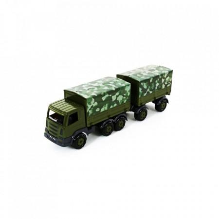 Camion militar cu prelata si remorca - SuperTruck, 71x16x22 cm,