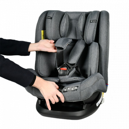 Scaun Auto Ruby Deluxe cu ISOFIX Crocodile 0 36 kg, pozitie somn 137 grade GreyJeans