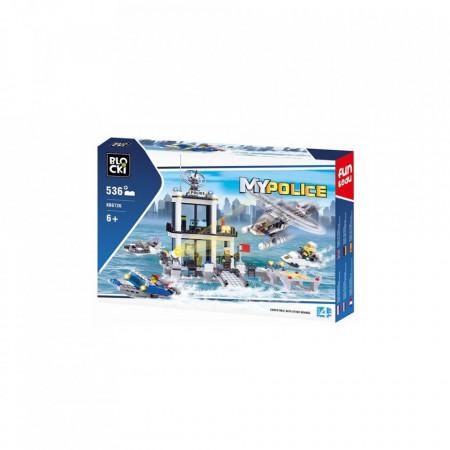 Joc constructie Blocki, Statie politie pe apa, 536 piese