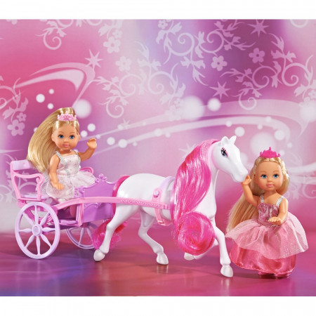 Set Simba Evi Love Romantic Carriage cu 2 papusi 12 cm si caleasca